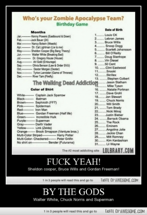 By the godshttp://omg-humor.tumblr.com: Who's your Zombie Apocalypse Team?  Birthday Game  Date of Birth  Months  1 . Louis CK  2. Lebron James  3 . Bruce Wilis  - Kenny Powers (Eastbound & Down)  Jack Bauer (24)  - Nancy Botwin (Weeds)  Dr. Cal Lightman (Lie to me)  -Sheldon Cooper (Big Bang Theory)  Walter White (Breaking Bad)  Dr. Gregory House (House)  Ari Gold (Entourage)  - Olvia Benson (Law & Order SVU)  - Dexter Morgan (Dexter)  -Tyrion Lannister (Game of Thrones)  Jan.  Feb.  Mar.  Apr.  May-  Jun.  . Snoop Dogg  . Scarlett Johansson  Bill O'Reilly  .....  5.  6.  7..  ... Doug Stanhope  8.  9.  10. .Clint Eastwood  11.  12..  13.  Jul.  Vin Diesel  .50 Cent  Aug.  Sep.  Ot-  Nov.  Dec.-River Tam (Firefty)  ........  Snooki  Skrillex  Stephen Colbert  .Jason Statham  Mike Tyson  Natalie Portman  The Walling Dead Addiction  15.  16.  17..  18..  Color of Shirt  ..Dave Grohl  Jon Stewart  Captain Jack Sparrow  Batman  White-  Black-  Brown-  Pink-  Red-  Blue-  Green-  Purple-  Gray---  Yellow-  Orange-- Brock Smapson (Venture bros.)  Multi-Color Striped Harry Potter  Multi-Color- Checkered- Peter Grifin  No shirt on- - Bender (Futurama)  19.  .... Chuck Norris  Sephiroth (FF7)  Spiderman  Iron Man  Gordan Freeman (Half life)  Incredible Hulk  -Superman  Darth Vader  Link (Zelda)  20..  .Will Smith  21. ..  Tom Brady  22..  Nicki Minaj  Justin Bieber  Barrack Obama  23..  24.  The Rock  25..  26..  27.  28..  29..  .Eminem  Angolina Jolie  Jackie Chan  . Mitt Romney  30.  .Kim Kardashian  Lil Wayne  31.  LOLBRARY.COM  The #2 most addicting site  FUCK YEAH!  Sheldon cooper, Bruce Wills and Gordan Freeman!  1 in 3 people will read this and go to  TASTE OF AWESOME.COM  BY THE GODS  Walter White, Chuck Norris and Superman  1 in 3 people will read this and go to  TASTE OF AWESOME.COM By the godshttp://omg-humor.tumblr.com