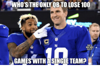 This guy! 😂  Credit: @NFLMemeGuy https://t.co/WDXvBlbllC: WHOSTHEONLY  OB  TO  LOSE  100  NFL  NFL  MEME  GUY  GAMES WITH ASINGLE TEAM? This guy! 😂  Credit: @NFLMemeGuy https://t.co/WDXvBlbllC