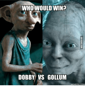 9gag, Lord of the Rings, and Gollum: WHOWOULD WIN?  DOBBY VS GOLLUM  MEMEFUL.COM  VIA 9GAG.COM Your Favourite