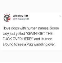 "Follow my other account @x__social_butterfly_x if you love animals!! 🐶🐱❤: Whskey Riff  @WhiskeyRiff  I love dogs with human names. Some  lady just yelled ""KEVIN! GET THE  FUCK OVER HERE!"" and l turned  around to see a Pug waddling over. Follow my other account @x__social_butterfly_x if you love animals!! 🐶🐱❤"