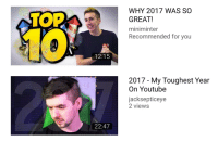 2017: WHY 2017 WAS SO  GREAT!  miniminter  Recommended for you  TOP  12:15  2017 - My Toughest Year  On Youtube  jacksepticeye  2 views  22:47