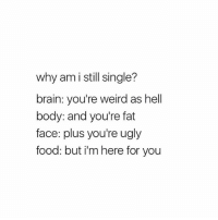 shook: why am i still single?  brain: you're weird as hell  body: and you're fat  face: plus you're ugly  food: but i'm here for you shook