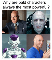 Memes, Powerful, and 🤖: Why are bald characters  always the most powerful? A question that needs an answer.