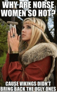 Viking: WHY ARE NORSE  WOMEN SO HOT?  CAUSE VIKINGS DIDNT  BRING BACK THE UGLY ONES