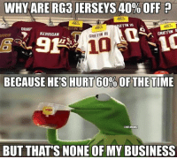 Nfl, Rg3, and Business: WHY ARE RG3 JERSEYS 40% OFF p  AFFIN WI  DRAKF  GRIFI IN  GRIFFIN III  KERRIGAN  RAIS  BECAUSE HES HURT 60%OFTHETIME  @NFLMEMEZ  BUT THATS NONE OF MY BUSINESS RGIII Problems! Credit: Kevin Freeney