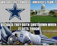 The Cowboys CHOKE.....  Again!  LIKE US @ NFL Memes!  Credit - Scott Margo: WHY ARE THECOWBOYS AMERICAS TEAM  BECUASE THEY BOTH SHUTDOWN WHEN  IT GETS TOUGH  ONFL MEMES The Cowboys CHOKE.....  Again!  LIKE US @ NFL Memes!  Credit - Scott Margo