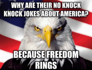 America, Happy, and Jokes: WHY ARE THEIR NO KNOCK  KNOCK JOKES ABOUT AMERICA?  BECAUSE FREEDOM  RINGS Happy 4th