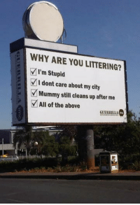 9gag, Billboard, and Dank: WHY ARE YOU LITTERING?  I'm Stupid  I dont care about my city  Mummy still cleans up after me  All of the above  GUERRILL Best billboard you've ever seen.  https://9gag.com/gag/azqQ4bm/sc/funny?ref=fbsc