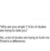 """Memes, Date, and Fuck: Why are you single? A lot of dudes  are trying to date you""""  No,  a lot of dudes are trying to fuck me  There's a difference. 💯"""