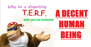 Donkey Kong will not stand with transphobes: Why be a disgusting  T.E.R.F. A DECENT  HUMAN  BEING  when you can instead be Donkey Kong will not stand with transphobes