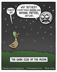 Hoping to view the eclipse totality today! (go away, stupid clouds)  Don't forget to preorder my next book! http://a.co/j8sHXRZ: WHY BOTHER?!  CHEER EVERYTHING SUCKS AND  UP!NOTHING MATTERS,  3  ANYWAY  THE DARK SIDE OF THE MOON  Facebook.com/FowlLanguageComics FowLanguageComics.com OBrian Gordon Hoping to view the eclipse totality today! (go away, stupid clouds)  Don't forget to preorder my next book! http://a.co/j8sHXRZ