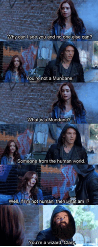 I CAN'T STOP LAUGHING 😂😂😂: Why can see you and no one else can?  You're not a Mundane  What is a Mundane?  Someone from the human world  Well, if Im not human, then what am l?  You're a wizard, Clary I CAN'T STOP LAUGHING 😂😂😂