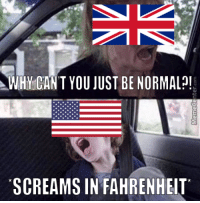 Funny, American, and The Weather: WHY CAN T YOU JUST BE NORMAL!  SCREAMS INFAHRENHEIT Discussing the weather with my American girlfriend