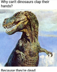 Gotem: Why can't dinosaurs clap their  hands?  Because they're dead Gotem