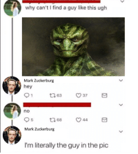"""Meme, Image, and Never: why can't find a guy like this ugh  Mark Zuckerburg  hey  no  5  68  44  Mark Zuckerburg  I'm literally the guy in the pic <p>This image has been around for a while but never utilized for a meme. Will probably start high as it&rsquo;s debut is piggy backing off the huge Zuck meme wave. via /r/MemeEconomy <a href=""""https://ift.tt/2GXxlKs"""">https://ift.tt/2GXxlKs</a></p>"""