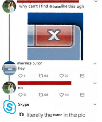 Dank, Memes, and Target: why can't I find a Button like this ugh  minimize button  hey  no  Skype  It's literally the Button in the pic Meirl by chrkace MORE MEMES