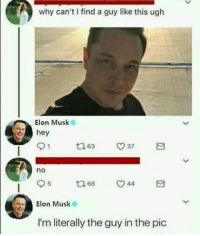 Dank Memes, Elon Musk, and Rare: why can't I find a guy like this ugh  Elon Musk  hey  no  5  Elon Musk  Elon Musk  LiS  I'm literally the guy in the pic @Rare.TrashOfficial