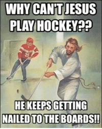 WHY CANT JESUS  PLAY HOCKEY  HEKEEPS GETTING  NAILED TO THE BOARDS!! JewishMemes