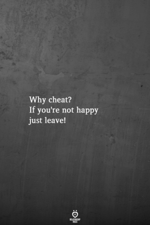 Not Happy: Why cheat?  If you're not happy  just leave!  BALES