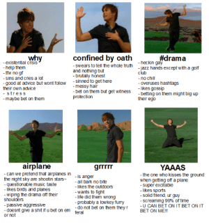 keithkogaint:  tag yourself I'm why: why  confined by oath  #drama  -existential crisis  -help them  -tfw no gf  heckin gay  -jazz hands except with a golf  club  - swears to tell the whole truth  and nothing but  - brutally honest  sinned to get here  - messy hair  - bet on them but get witness  protection  -no chill  - overuses hashtags  - likes gossip  - betting on them might big up  their ego  - sins and criesa lot  -good at advice but wont folloW  their own advice  - stress  -maybe bet on them  airplane  grrrrr  YAAAS  -can we pretend that airplanes In is anger  the night sky are shootin stars  - questionable music taste  - likes birds and planes  - wiping the drama off their  shoulders  passive aggressive  doesnt give a shit if u bet on em feral  or not  -the one who kisses the ground  when getting off a plane  super excitable  - likes sports  solid friend, ur guy  all bark no bite  - likes the outdoors  -  -wants to fight  - life did them wrong  probably a lowkey fury  -do not bet on them they r  - Screaming 99% of time  -U CAN BET ON IT BET ON IT  BET ON ME!! keithkogaint:  tag yourself I'm why