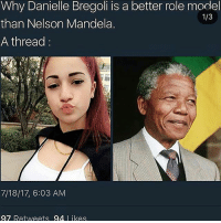 Dank, Nelson Mandela, and Tea: Why Danielle Bregoli is a better role model  than Nelson Mandela.  A thread  1/3  7/18/17, 6:03 AM  97 Retweets 94 Likes This tea has literally burned my tongue off