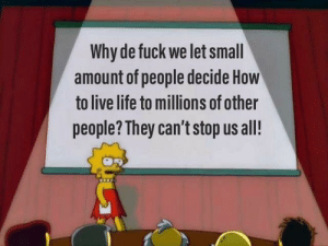 Life, Fuck, and How To: Why de fuck we let small  amount of people decide How  to live life to millions of other  people? They can't stop us all! me_irl