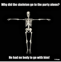 Via F-J-P.com: Why did the skeleton goto the party alone  He had nobody to go with him! Via F-J-P.com