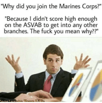"""The Fuck You Mean: """"Why did you join the Marines Corps?""""  """"Because l didn't score high enough  on the ASVAB to get into any other  branches, The fuck you mean why??"""""""