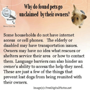 Dogs, Internet, and Memes: Why do found pets go  unclaimed by their owners?  os  Wisconsin  Never Give Up  Some households do not have internet  access or cell phones. The elderly or  disabled may have transportation issues.  Owners may have no idea what rescues or  shelters service their area or how to contact  them. Language barriers can also hinder an  owner's ability to access the help they need  These are just a few of the things that  prevent lost dogs from being reunited with  their owners.  Image(s): FreeDigitalPhotos.net TIP:
