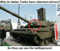 """<p>This Is What MANLY MEN Do via /r/dank_meme <a href=""""http://ift.tt/2g0p7EK"""">http://ift.tt/2g0p7EK</a></p>: Why do italian Tanks have sideview mirrors?  So they can see the battleground <p>This Is What MANLY MEN Do via /r/dank_meme <a href=""""http://ift.tt/2g0p7EK"""">http://ift.tt/2g0p7EK</a></p>"""
