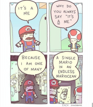 """It's a me. Mario No. 42069: WHY  DO  IT'S  A  YOU ALWAYS  МЕ  SAY """"IT'S  A ME""""  M  de BECAUSE  A SINGLE  MARIO  AM ONE  IN  AN  OF MANY  ENDLESS  MARIOCEAN  Z ACH  EXTRAFABULOUS It's a me. Mario No. 42069"""