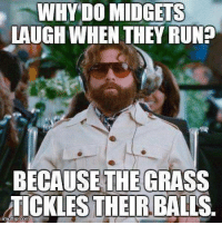 midgets: WHY DO MIDGETS  LAUGH WHEN THEY RUNE  BECAUSE THE GRASS  TICKLES THEIR BALLS.  irngflip.com