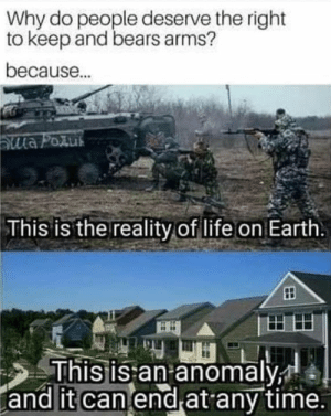 Life, Memes, and Bears: Why do people deserve the right  to keep and bears arms?  because.  This is the reality of life on Earth  shis is an anomaly  and it can end at any time.