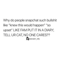 "Fam, Funny, and Memes: Why do people snapchat such bullshit  like ""knew this would happen"" ""so  upset"" LIKE FAM PUT IT IN A DIARY,  TELL UR CAT, NO ONE CARES??  @sarcasm only SarcasmOnly"