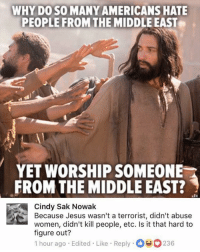Jesus, Memes, and The Middle: WHY DO SO MANY AMERICANS HATE  PEOPLE FROM THE MIDDLE EAST  YET WORSHIP SOMEONE  FROM THE MIDDLE EAST?  Cindy Sak Nowak  Because Jesus wasn't a terrorist, didn't abuse  women, didn't kill people, etc. Is it that hard to  figure out?  1 hour ago Edited Like Reply236 (GC)