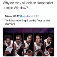 😭😂😭😭💀💀: Why do they all look so skeptical of  Justise Winslow?  Miami HEAT● @MiamiHEAT  Tonight's opening 5 on the floor vs the  Warriors  UICE NIGHTS UICE NIGHTS UICE NIGHTS UIC  UICE NI1GHTS UICE NIGHTS UICE NIGHTS UT  ENTGHTS  UICE NIGHTS  UİCE NIGHTS UICE NI  UICE NIGHTS: UICE NI'GHTS ICE NIGHTS 😭😂😭😭💀💀