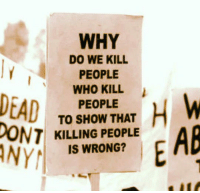 Who, Why, and Make: WHY  DO WE KILL  PEOPLE  WHO KILL  PEOPLE  TO SHOW THAT  KILLING PEOPLE  IS WRONG?  NY <p>Sometimes Humans Make No Sense.</p>