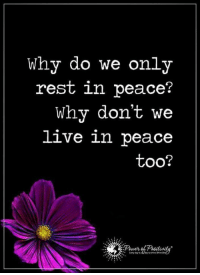 True. Pass it on...: Why do we only  rest in peace?  Why don't we  live in peace  too? True. Pass it on...