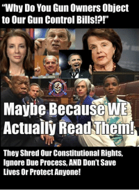 """Memes, Shameless, and Control: """"Why Do You Gun Owners Object  to Our Gun Control Bills!?!""""  Maybe Because W  Actualy Read Them  They Shred Our Constitutional Rights,  lgnore Due Process, AND Don't Save  Lives Or Protect Anyone! Of course, what does it matter to these shameless politicians and the fawning and inept media, if you're grossly violating the spirit and letter of multiple constitutional rights. Or that you're not even arguably keeping weapons out of the hands of murderers.  All that matters is that you can SAY you are, and that seems to be all that matters to them. - Metal Law"""