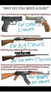 """Best Clown Meme https://t.co/izdVfmb5IM: """"WHY DO YOU NEED A GUN?""""  -tot-Reed these formuggers, mapists & carjackersi  close  Clowns  This ome forturglars & home invasions,  for Big Clausns  This ome for putting food omthe table,  FO for away Clowns  This ene terselfd  & domestic, for preservation of freedom & liberty  TaRd te preveAt government atrocities.  OF clowns Best Clown Meme https://t.co/izdVfmb5IM"""