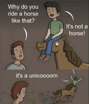 Dank, Memes, and Target: Why do you  ride a horse  like that?  It's not a  horse!  it's a unicoooorn Yeeeehaw by MythOak MORE MEMES