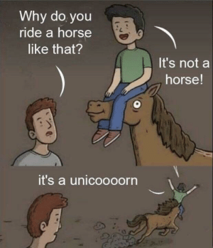 Horse, Okay, and Ahhh: Why do you  ride a horse  like that?  It's not a  horse!  it's a unicoooorn Ahhh okay