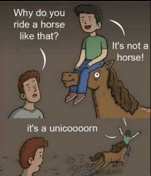 Just a saddle: Why do you  ride a horse  like that?  It's not a  horse!  it's a unicoooorn Just a saddle
