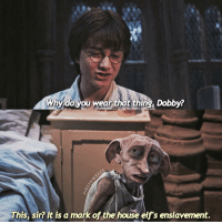 Elf, Memes, and Book It: Why do you wear that thing, Dobby?  This, sir? It is a mark of the house elf's enslavement. Did you notice that Dobby is still wearing rags in Deathly Hallows even though Harry freed him in Chamber of Secrets? In the books, it was said he got new, actual clothes. 👉🏼 Who is-are your favorite hp character(s)? HarryPotter