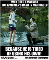 <p>Sunday chuckles collection  Hilarious pics and memes  PMSLweb </p>: WHY DOES A MAN ASK  FOR A WOMAN'S HAND IN MARRIAGE?  BECAUSE HE IS TIRED  OF USING HIS OWN!  The intenet Scavengars <p>Sunday chuckles collection  Hilarious pics and memes  PMSLweb </p>