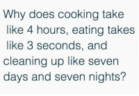 Can someone explain please?: Why does cooking take  like 4 hours, eating takes  like 3 seconds, and  cleaning up like seven  days and seven nights? Can someone explain please?