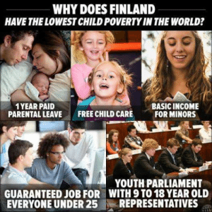 Target, Tumblr, and Blog: WHY DOES FINLAND  HAVE THE LOWEST CHILD POVERTYIN THE WORLD?  1 YEAR PAID  PARENTALLEAVE  BASIC INCOME  FOR MINORS  FREE CHILD CARE  YOUTH PARLIAMENT  GUARANTEED JOB FOR WITH 9 TO 18 YEAR OLD  EVERYONE UNDER 2512 REPRESENTATIVES : adventuresinlearning:  and we are still fighting over minimum wage