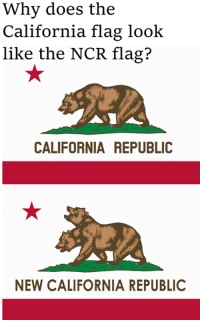 California: Why does the  California flag look  like the NCR flag?  CALIFORNIA REPUBLIC  NEW CALIFORNIA REPUBLIC