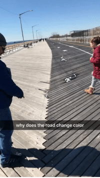 siseul1: sixpenceee:  This boardwalk switches colors when you change direction and is the same color in the middle. Via u/benjanator862 Friends, follow me on instagram as I'll be posting more on there: instagram.com/sixpenceee   Wow…. : why does the road change color siseul1: sixpenceee:  This boardwalk switches colors when you change direction and is the same color in the middle. Via u/benjanator862 Friends, follow me on instagram as I'll be posting more on there: instagram.com/sixpenceee   Wow….