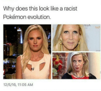 Memes, Evolution, and Racist: Why does this look like a racist  Pokémon evolution.  12/5/16, 11:05 AM Leave in 2016- Tomi Lahren